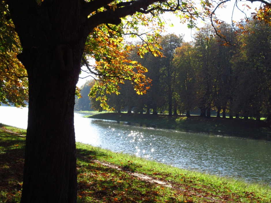 Decksteiner Weiher im Herbst mit glitzernder Wasseroberfläche, magisch